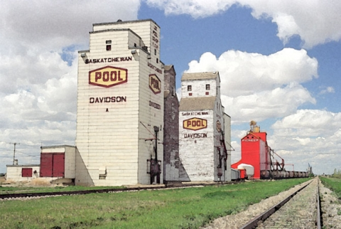 Water colour of wooden elevators at Davidson, Saskatchewan