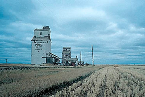 Watercolour of Dankin wooden elevator, Saskatchewan