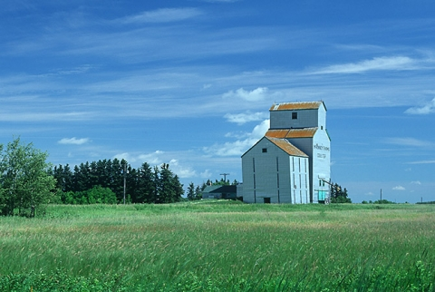 Photograph of wooden grain elevator at Coulter, Manitoba