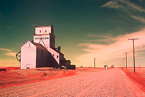 Infrared image of Prelate wooden grain elevator, Saskatchewan