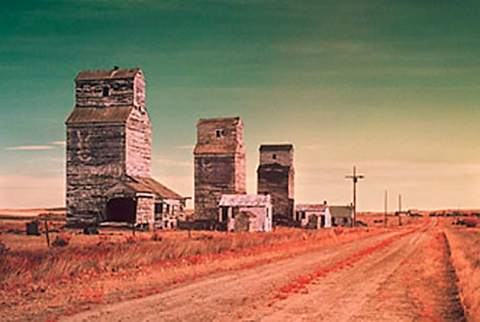 Infrared photo of wooden grain elevators at Verlo, Saskatchewan