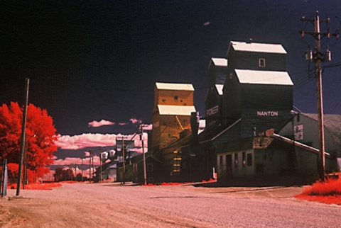 Nanton wooden grain elevators photographed with Infrared film, Alberta
