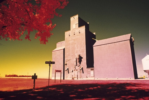 "Grain elevator at Upham, North Dakota, ""In Infrared Light"""