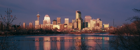 Calgary skyline before sunrise, Alberta