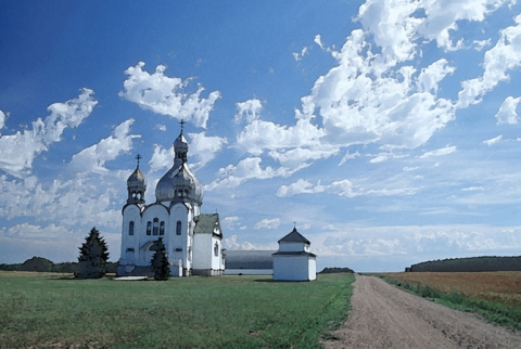Watercolour print of St Julien orthodox church, Saskatchewan