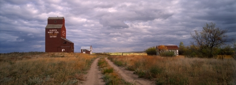 "Wooden Grain Elevator at Esther, Alberta, ""Brushed with Autumn"""
