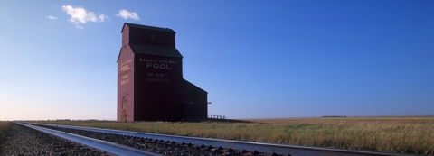 Wooden grain elevators at Ridpath, Saskatchewan