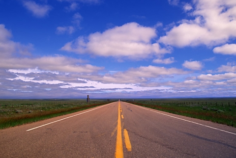 "Endless road in Alberta entitled ""Infinity"""