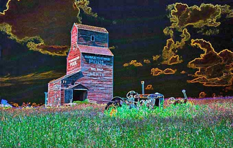 Computer manipulated image of Bents, Saskatchewan.