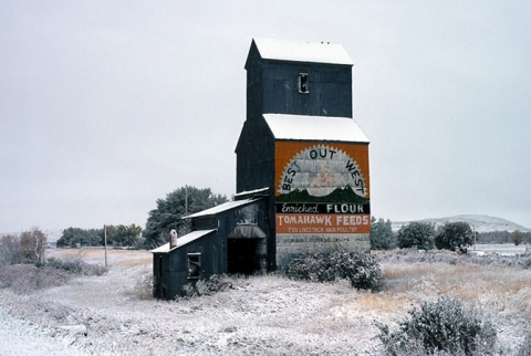 Photograph of wooden grain elevator at Wyola, Montana.