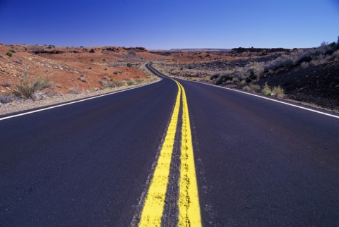 "Highway in Painted Desert entitled ""Double Yellow Line"""