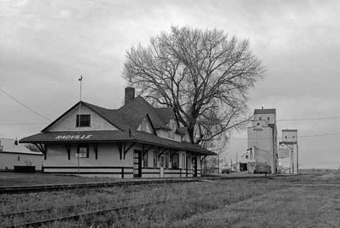 Station and grain elevators at Radville, Saskatchewan