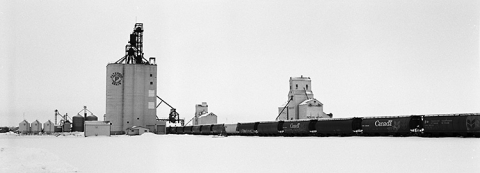 Photograph of wooden grain elevators at Indian Head, Saskatchewan