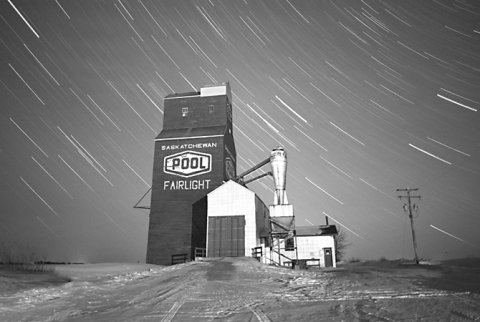 "Wooden Grain Elevator at Fairlight, Saskatchewan, ""By Starlight"""