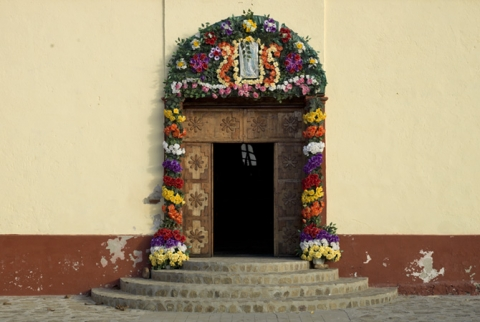 Main entrance to local church, El Triunfo