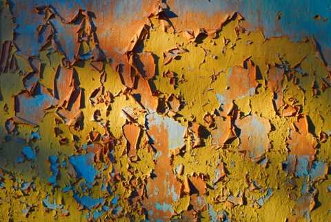 "Peeling Paint on a wall entitled ""Exposed"""