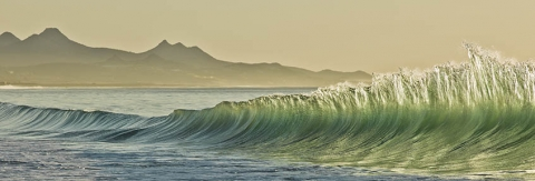 "Panoramic photograph of waves, Mexico.  ""Recoil"""