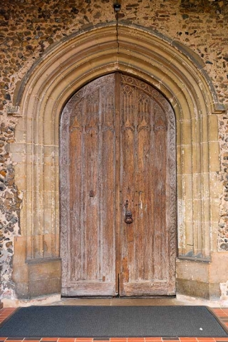 Photo of main doors to All Saints Church, St Gregory, Sudbury, Suffolk, UK