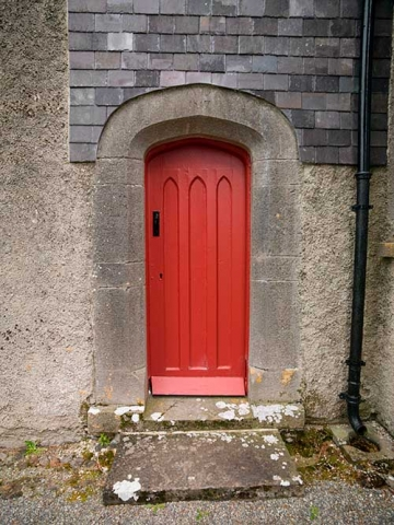 Photo of side door to Drumard Parish Church, Sligo, County Mayo, Republic of Ireland.