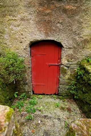 Photo of cellar door to Drumard Parish Church, Sligo, County Mayo, Republic of Ireland.