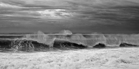 Ocean waves, stormy seascapes, sandy beaches, blues and greens , foam and wave spray,  rolling waves, see through waves, black storm clouds, hurricane Baja waves, Mexican seascapes.