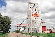 Watercolour of Wooden grain elevator at Craik, Saskatchewan