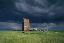 "Image of Grain elevator at Deveron, Saskatchewan, ""Sunny Breaks"""