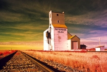 "Wooden grain elevator at Hilda, Alberta, ""In Infrared Light"""