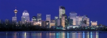 "Panoramic image of Calgary at sunrise, ""Sunrise in Cow Town"""