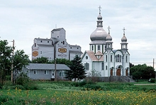 Wroxton grain elevator and Orthodox church, Saskatchewan