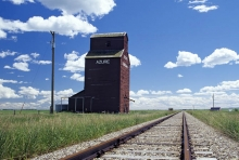 Photograph of wooden elevator at Azure, AB