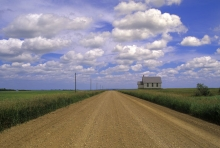 """Image of neglected school house entitled """"No Stopping"""""""