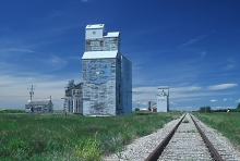 Photograph of wooden grain elevators at Glenside, Saskatchewan.
