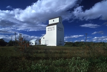 Photograph of wooden grain elevator at Radway, Alberta