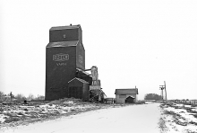 Photograph of wooden grain elevator at Vawn, Saskatchewan