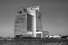 Photograph of wooden grain elevator at Melfort, Saskatchewan