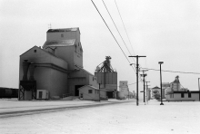 Image of wooden grain elevators at Humboldt, Saskatchewan