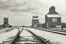 Wooden grain elevators at Lethbridge, Alberta