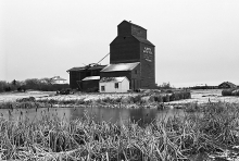 Image of wooden grain elevator from Kingman, Alberta