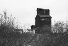 Wooden grain elevator at Poe, Alberta