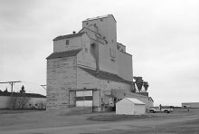 Wooden grain elevator at Hague, Saskatchewan