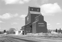 Wooden grain elevator at Stenen, Saskatchewan