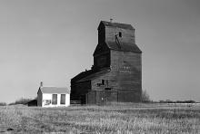 Photograph of wooden grain elevator at Tonkin, Saskatchewan