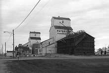 Wooden grain elevators at Gainsborough, Saskatchewan
