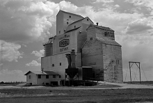 Wooden grain elevator at Outram, Saskatchewan