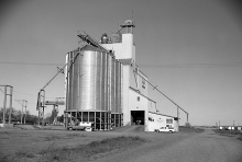 Photograph of wooden grain elevator at Trochu, Alberta