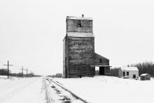 Image of wooden grain elevator at Red Jacket, Saskatchewan
