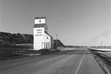 photograph of wooden grain elevator at Kirkpatrick, Alberta
