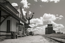 """Too Late"" Station and wooden grain elevators at Rowley, Alberta,"